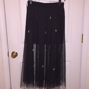 Black tulle skirt with beading L